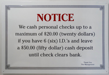 Notice-Check Cashing Procedure