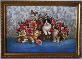 Lee Dubin-Three Kittens / Basket-Original