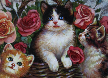 Lee Dubin-Three Kittens / Basket-Original