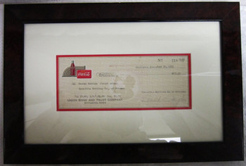 Framed Coca-Cola Check 1951