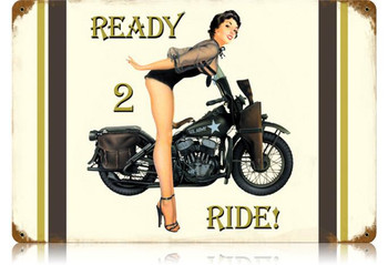 Ready 2 Ride Metal Sign