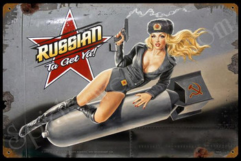 Russian Nose Art Vintage Pin-Up Metal Sign
