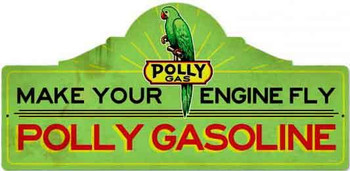 "Polly Gasoline Station Plasma Cut Sign 26"" by 12"""