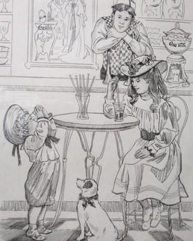 Soda Fountain Daydreaming Attendant Lee Dubin Framed Original Pencil Sketch
