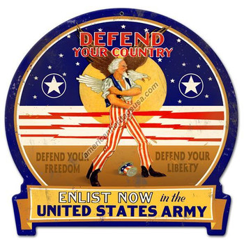 Defend Your Country Plasma Cut Metal Sign