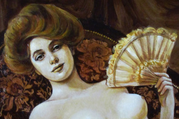 Evelyn Nesbit brown sepia Original Painting