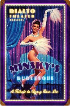 Minsky's Burlesque Pin-Up Metal Sign