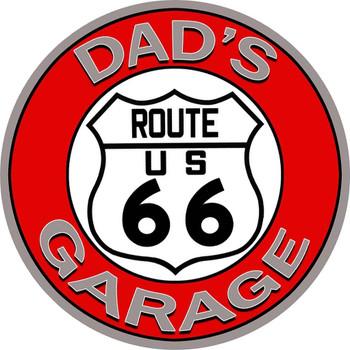 """Dad's Route 66 Garage 14"""" Round"""