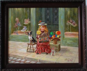 """Lee Dubin Framed Original Painting """"Candy Peddler"""""""