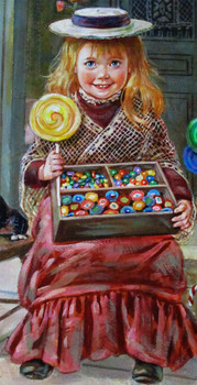 "Lee Dubin Framed Original Painting ""Candy Peddler"""