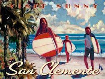 San Clemente Beach Scene Metal Sign