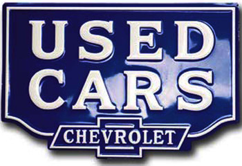 CHEVROLET USED CAR EMBOSSED METAL SIGN Limited Edition