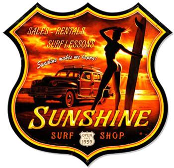 Sunshine Surf Pin-Up Shield Plasma Cut Metal Sign