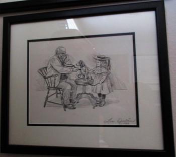 """Lee Dubin Framed Original Pencil Sketch """"Puppy's Visit Doctor's Office"""""""