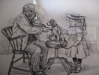 "Lee Dubin Framed Original Pencil Sketch ""Puppy's Visit Doctor's Office"""