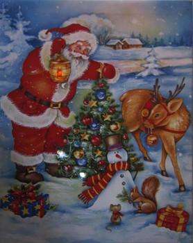 Santa Tree and Reindeer LED Canvas