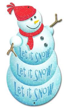 Snowman Plasma Cut Metal Sign