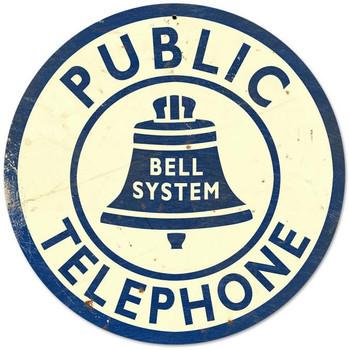 "Public Telephone 14"" Round Metal Sign"