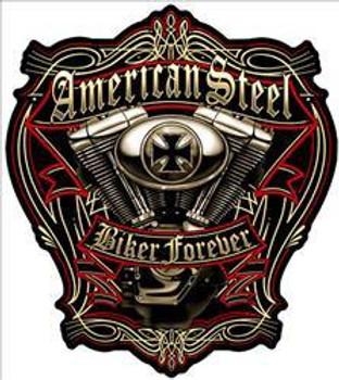 American Steel Biker Forever Plasma Cut Metal Sign
