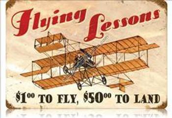 Flying Lessons Vintage Metal Sign
