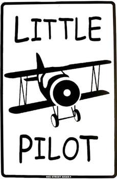 Little Pilot Metal Sign