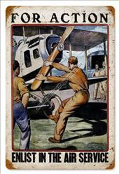 For Action-Air Service Vintage Metal Sign
