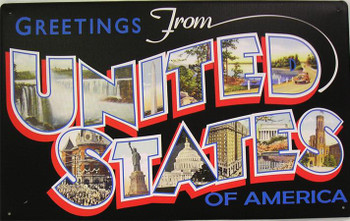 Greetings From United States Of America Metal Sign