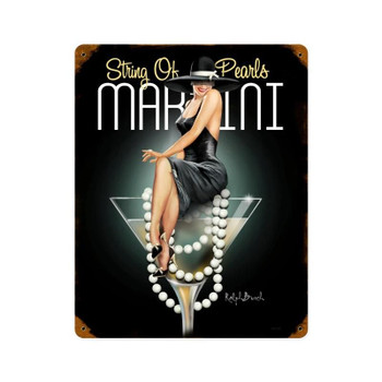 Martini String of Pearls Pin-Up Metal Sign