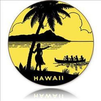 "Hawaii 14"" Round Metal Sign"