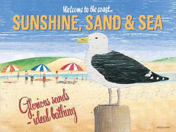 Sunshine Sand & Sea Metal Sign