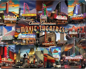 Movie Theater Collage Metal Sign
