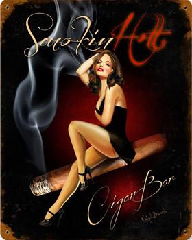 Smokin Hot Cigar Bar Metal Sign