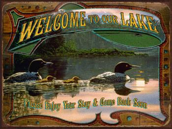 Welcome to Our Lake Metal Sign