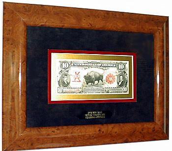 The Ten Dollar Bison Note Framed