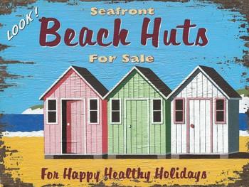 Beach Huts Metal Signs