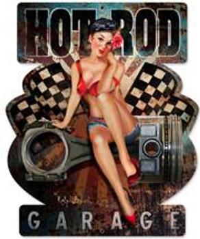 Hot Rod Garage Pin-Up Plasma Cut Metal Sign