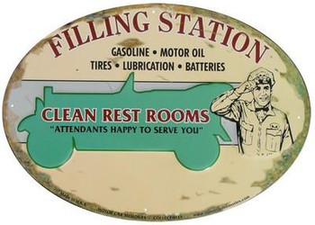 Filling Station Oval Metal Sign