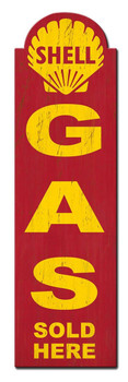 "Shell Gas Sold Here Grunge Metal Sign (30"" by 8"")"