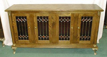 Triple Deluxe Slot Stand with Solid Oak Raised