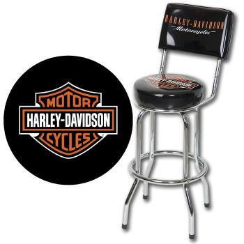Harley-Davidson Bar & Shield Bar Stool w/Backrest
