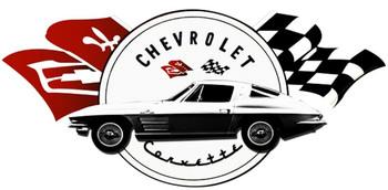 Corvette Stingray Over Logo Plasma Cut Metal Sign