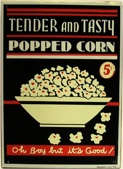 Popped Corn 5c Rustic Metal Sign