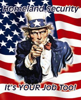 Homeland Security It's Your Job Too! Uncle Sam Metal Sign