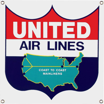 United Air Lines  Porcelain Sign