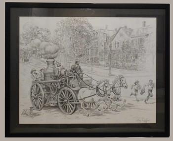 Fire Steamer Sketch by Lee Dubin Framed Original Pencil
