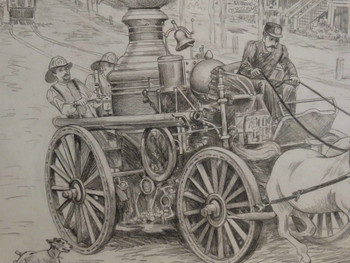 Fire Steamer Sketch by Lee Dubin Framed Original Pencil