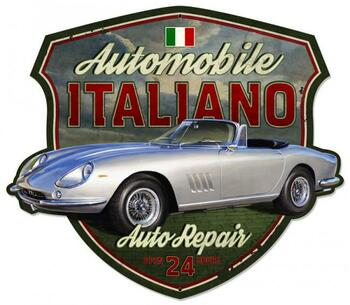 Automobile Italiano Shield Plasma Cut Metal Sign