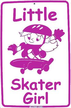 Little Skater Girl Aluminum Sign