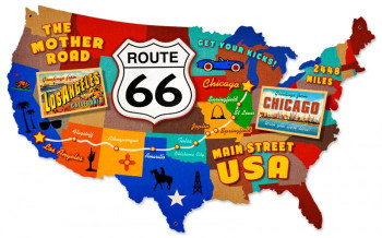 "Route 66 USA Plasma Cut Metal Sign 25"" by 16"""