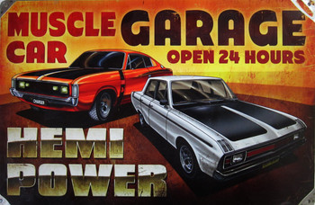 Muscle Car Garage Metal Sign